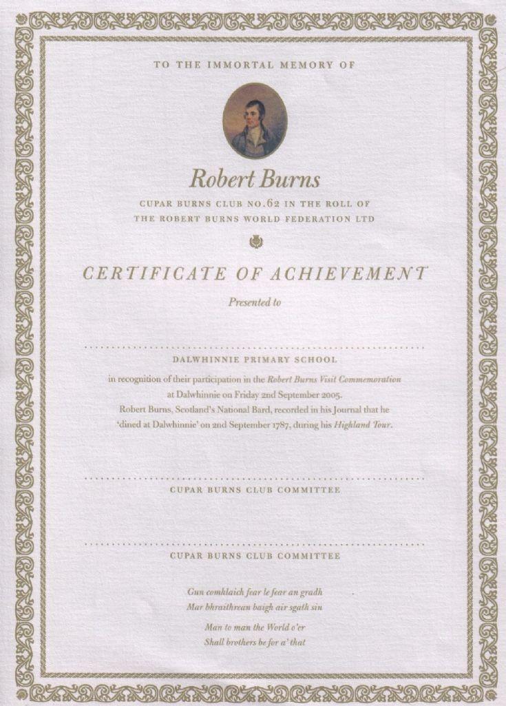 Burns Certificate given to Dalwhinnie schoolchildren