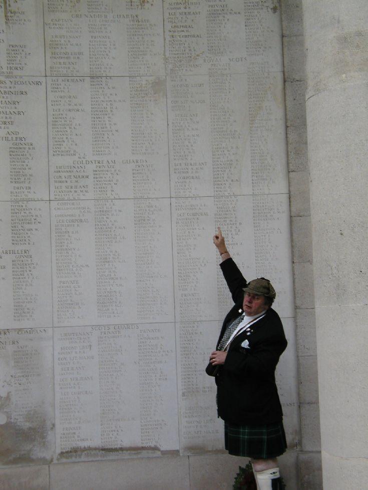 Sgt James Craib's name on memorial in Belgium
