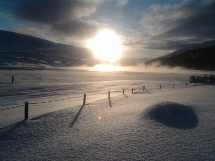 Frozen Loch Ericht near the Shieling