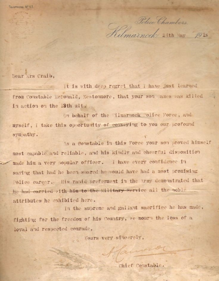 Letter to Sgt.James Shand Craib's mother