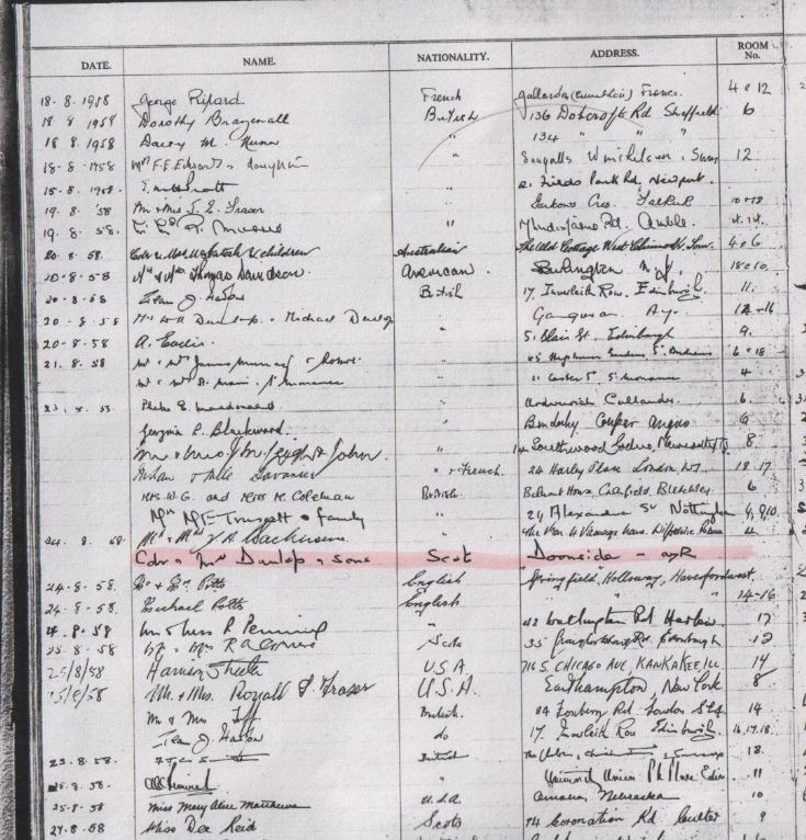 The Loch Ericht Hotel Register from 1958