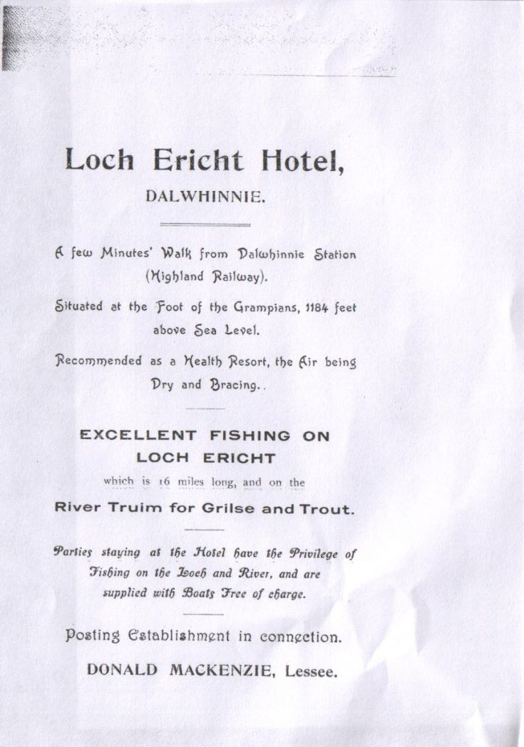 Advertising flyer for the Loch Ericht Hotel