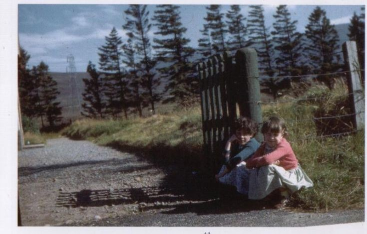 Two girls near the church