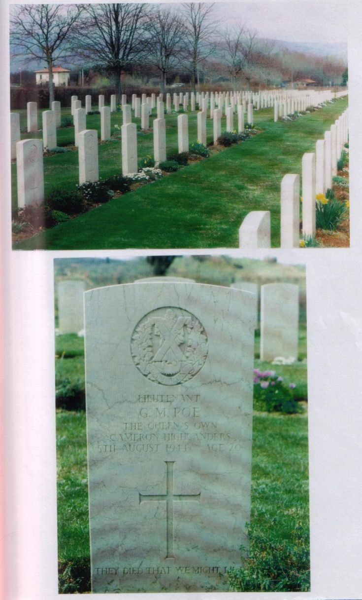 The gravestone of Lt George Macpherson Poe at Arrezzo, Italy