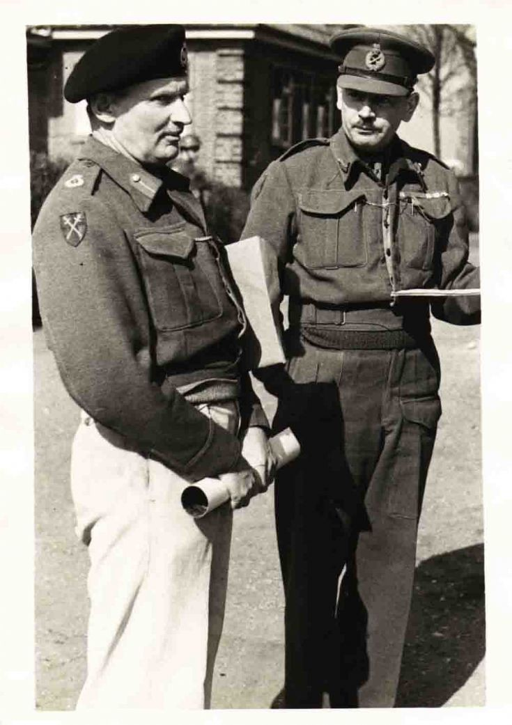 Monty with Staff Maj Gen Freddie De Guingand