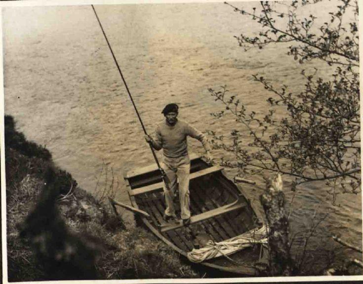Monty fishing on Loch Insh