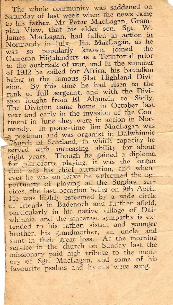 Newspaper tribute to Sgt William James McLagan