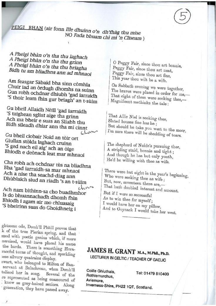 Lyrics to Peigi Bhan