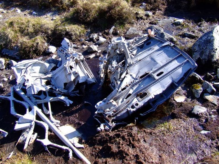 Plane wreckage on Ben Alder