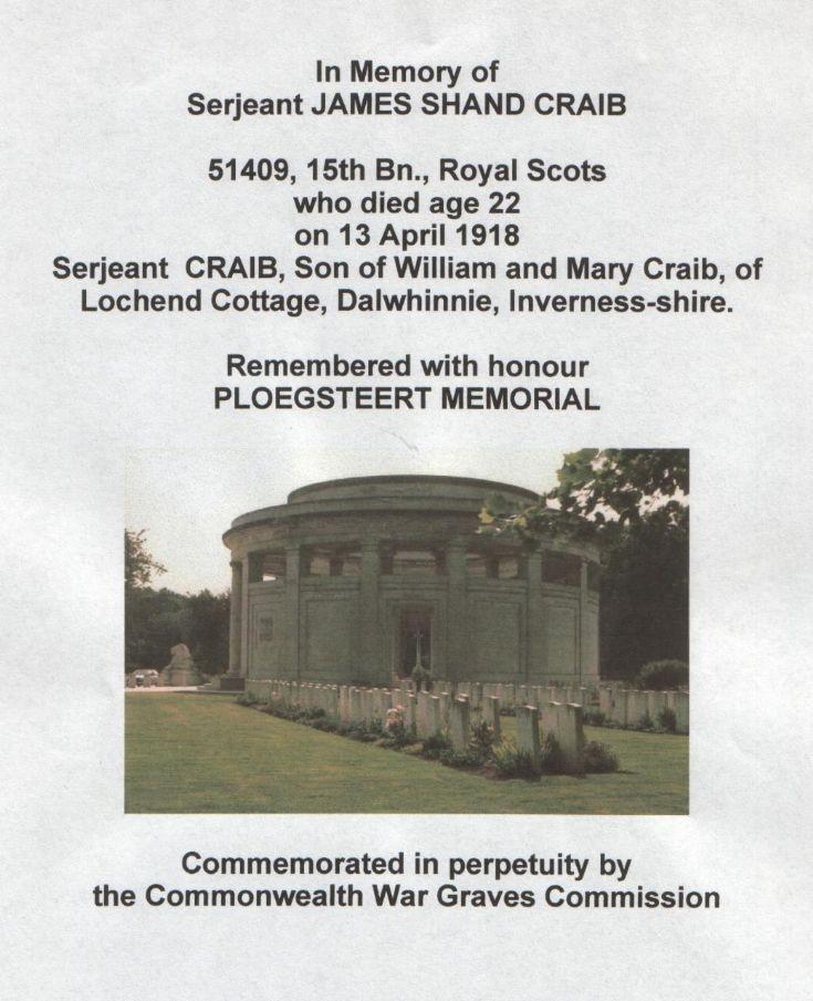 Sgt James Craib's memorial