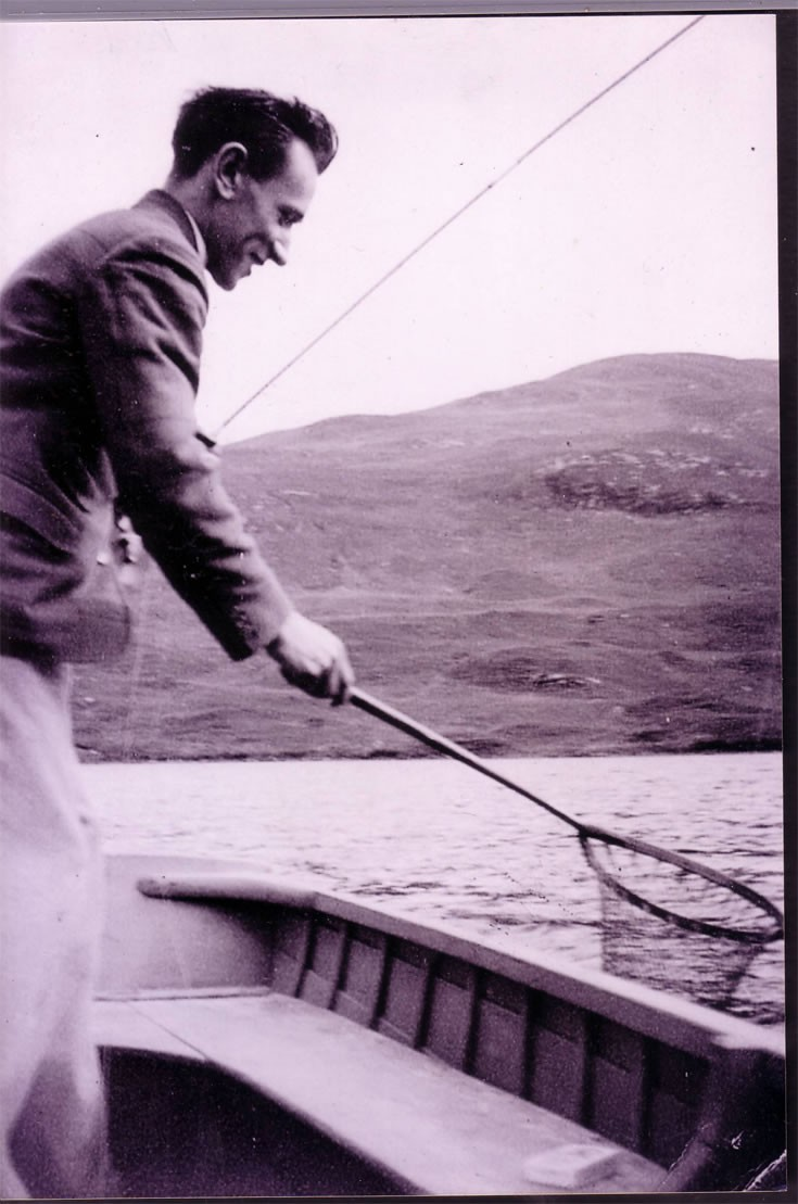 Donald Stewart fishing on Loch Ericht in 1930's