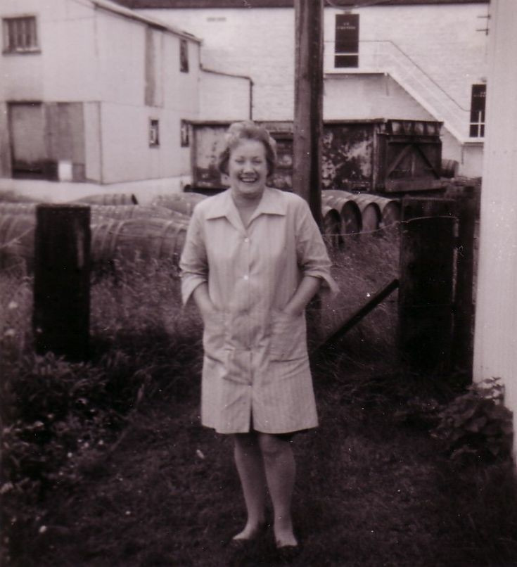 Mary Christie at Dalwhinnie Distillery - 1960's?