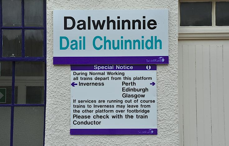 Notice at Dalwhinnie train station